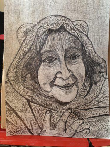 Portrait of artists mother by Alan Cross