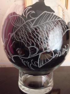 Wedding arrangement bowl / Gold fish bowl by Worcswoman40