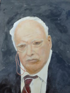 Portrait of Sir Patrick Moore by Allen Clark