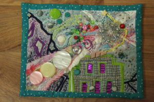 Art Quilt No.2 Talk of the Town by Diane Tate