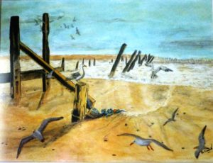 Landscapes – Beach Scene by Portrait of Charles Dickens