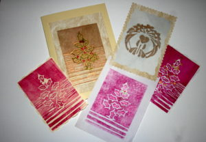 Linocut printed cards by Jacqui Cavalier