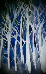 Silver Birch in Moonlight by Lauren M Foster