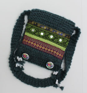 Green/Blue Decorated Knitted Bag by Julia Gabriel