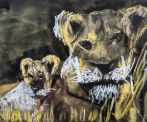 Lioness and cub by Terri Avril Winchester