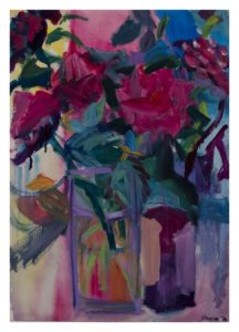Roses With Wine Bottle by Cleonie Jennings