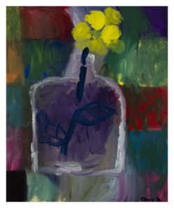 Bottle With Yellow Flower. by Cleonie Jennings
