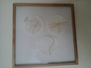 Three circle embroidery by Lesley Illingworth