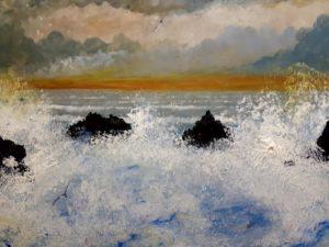 weaves breaking on rocks by mark Noble art