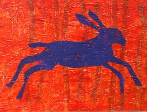 Hare in Red Forest by Gill Hamper