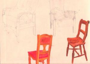 Four different chair studies by blodwyn jones