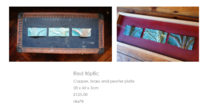 Red triptic by Nathalie Lomas