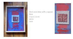 Red and blue with copper by Nathalie Lomas