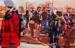 Painting of people outside