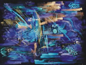 Blue On Black Abstract by John Exell