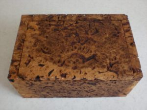 Burr brown oak box. by Sue Burbidge