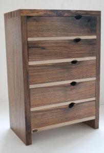 English walnut and holly small set of drawers. by Sue Burbidge