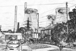 Drawing of a power station