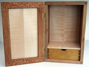 Lacewood and ripple sycamore cabinet by Sue Burbidge