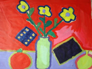 Three flowers with Dice by Jenny Lewis