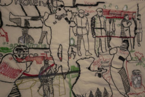 An embroidered Story 2 by Untitled Cushion