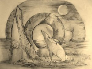 Moon Hare and Megalith by rachel henderson