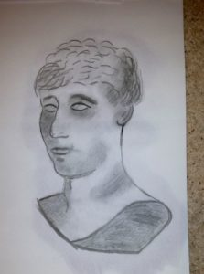 three quarters face of roman model by Jade's Gallery