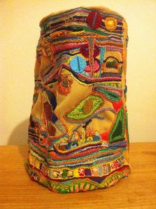 Untitled (Embroidered lampshade) by My Mum's Wild Patch in Her Garden