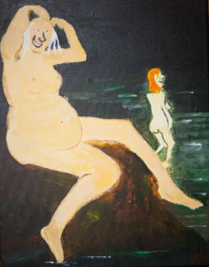 Bathers at Whitley Bay Nudist Beach. After Manet. by Colin Cameron