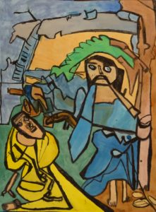 Jesus and Saint by Mary Bevlock