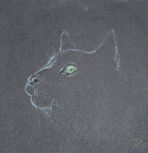 Black Cat with Green Eyes by Robert Russell