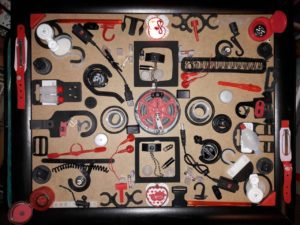 Temporary Red Black Plastics Assemblage by Luc(e) Raesmith