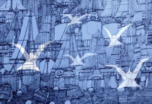 white birds over blue harbour by Chris West