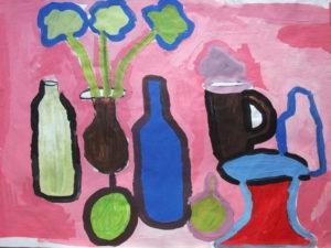Blue Bottle on Rasberry Background by Jenny Lewis