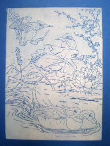 Kingfishers and Ducks in Blue by Moira Taylor