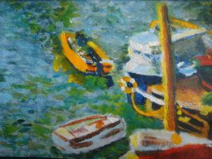 Boats Next To Richmond Bridge – SOLD by Rowena Turney