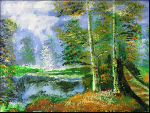 Two Lucky Birches by the Lake by Bernard Parker