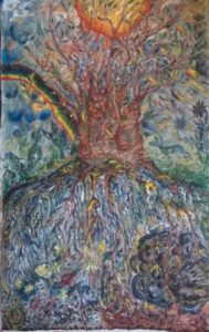 The tree with roots down to hell and braches up to heaven by Waltraud Pospischil