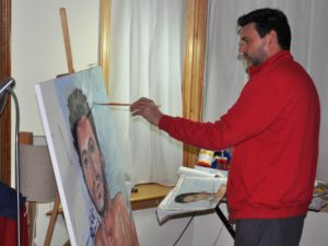 Brian Keeley painting self-portrait by Brian Keeley