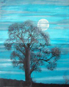 Oak Tree from my window by Caroline Ruddick
