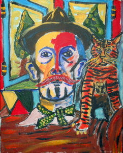 Billy Childish With Cat by John Pipere