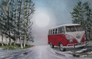 Clear Bright Moon and a Pink Campervan by John Lowerson