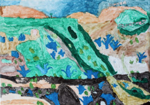 Landscape with green hills by Debbie Lumb