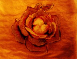 rose on golden cloth by Irina Holmes