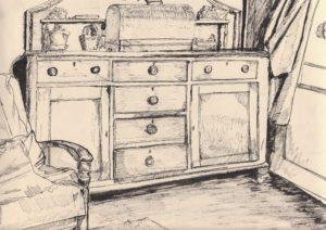 Chiffonier with sewing machine by blodwyn jones