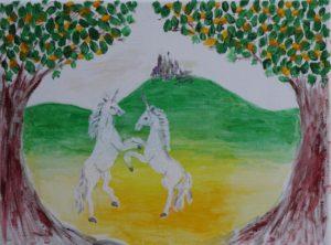 unicorns at play by Sylvia Scarsbrook