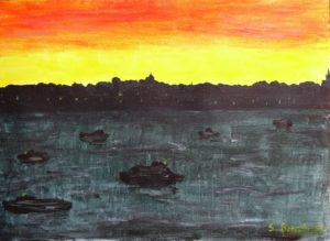 sunrise over waterway by Sylvia Scarsbrook