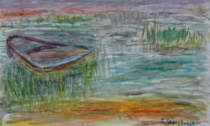 boat in reeds by Sylvia Scarsbrook