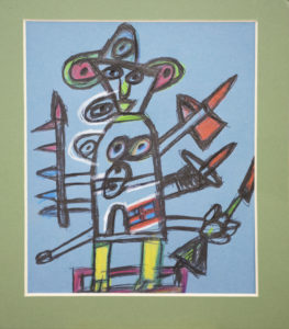 Untitled (Figure with weapons) by Roy Collinson