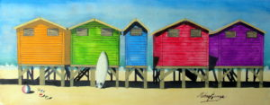 Capetown beach huts by Michael George